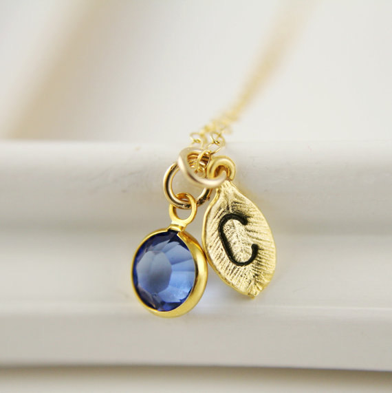 monogram necklace september birthstone sapphire swarovski crystal bezel leaf initial bridesmaids